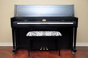 Wurlitzer studio acoustic upright piano ebony satin black used for sale rent rental gilbert mesa arizona phoenix my first gallery az