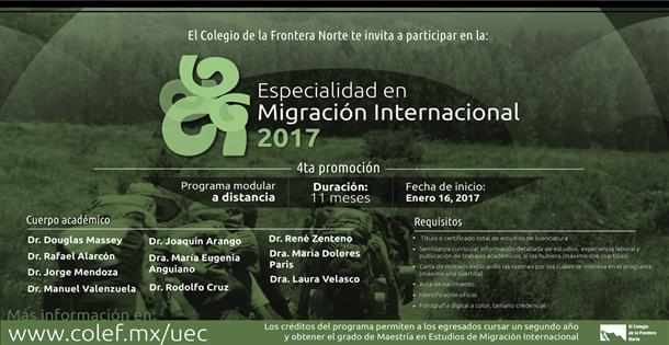 Banner Especialidad en migración internacional