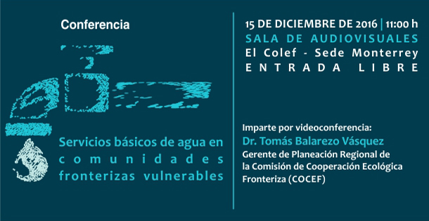 Banner Conferencia  Servicios básicos de agua en comunidades fronterizas vulnerables