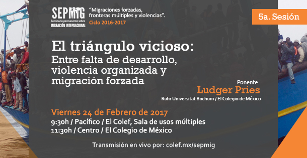 """Banner Quinta sesión SEPMIG """"Migraciones forzadas, fronteras múltiples y violencias"""""""