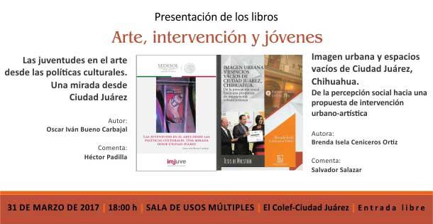 Banner Arte, intervención y jóvenes (presentación de libros)