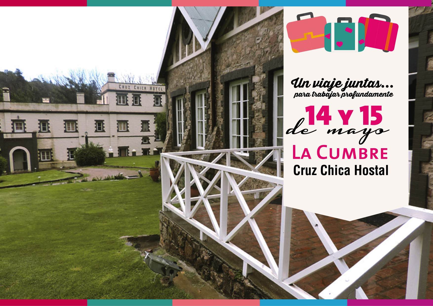 Flyer para Cruz Chica Hostal, evento para mujeres el 14 y 15 de mayo