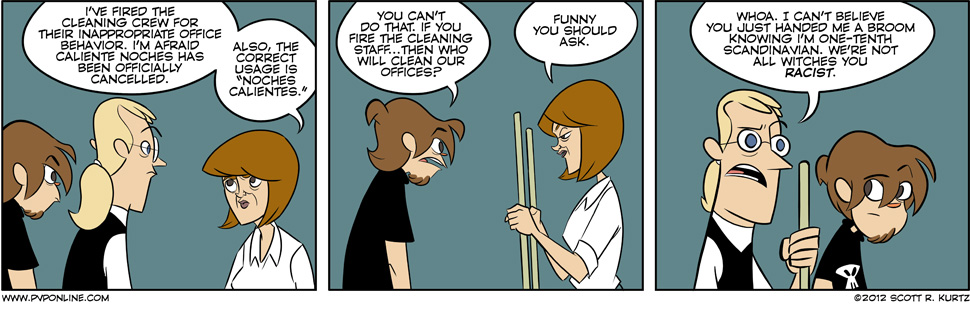 Comic Image for Cleaning house: pvponline.com/comic/2012/12/18/cleaning-house