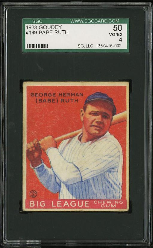 Image of: 1933 Goudey Babe Ruth #149 SGC 4/50 VGEX (PWCC)