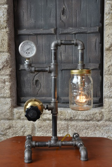 Industrial desk lamp, Steam Punk, Vintage Upcycled