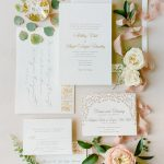 Gold blind letterpress Wedding invitation calligraphy stationery flatlay RO & Co. Events Destination Wedding Planner