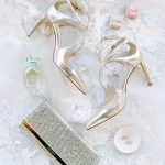 Wedding bride accessories flatlay Jimmy Choo The Mrs. Box RO & Co. Events Destination Wedding Planner