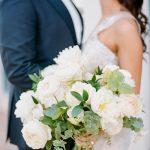 bride and groom first look with wedding bouquet RO & Co. Events Destination Wedding Planner