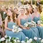 Wedding Ceremony blue bridesmaid dress bouquet RO & Co. Events Destination Wedding Planner
