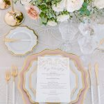 Wedding tablescape design place setting menu Casa de Perrin RO & Co. Events Destination Wedding Planner
