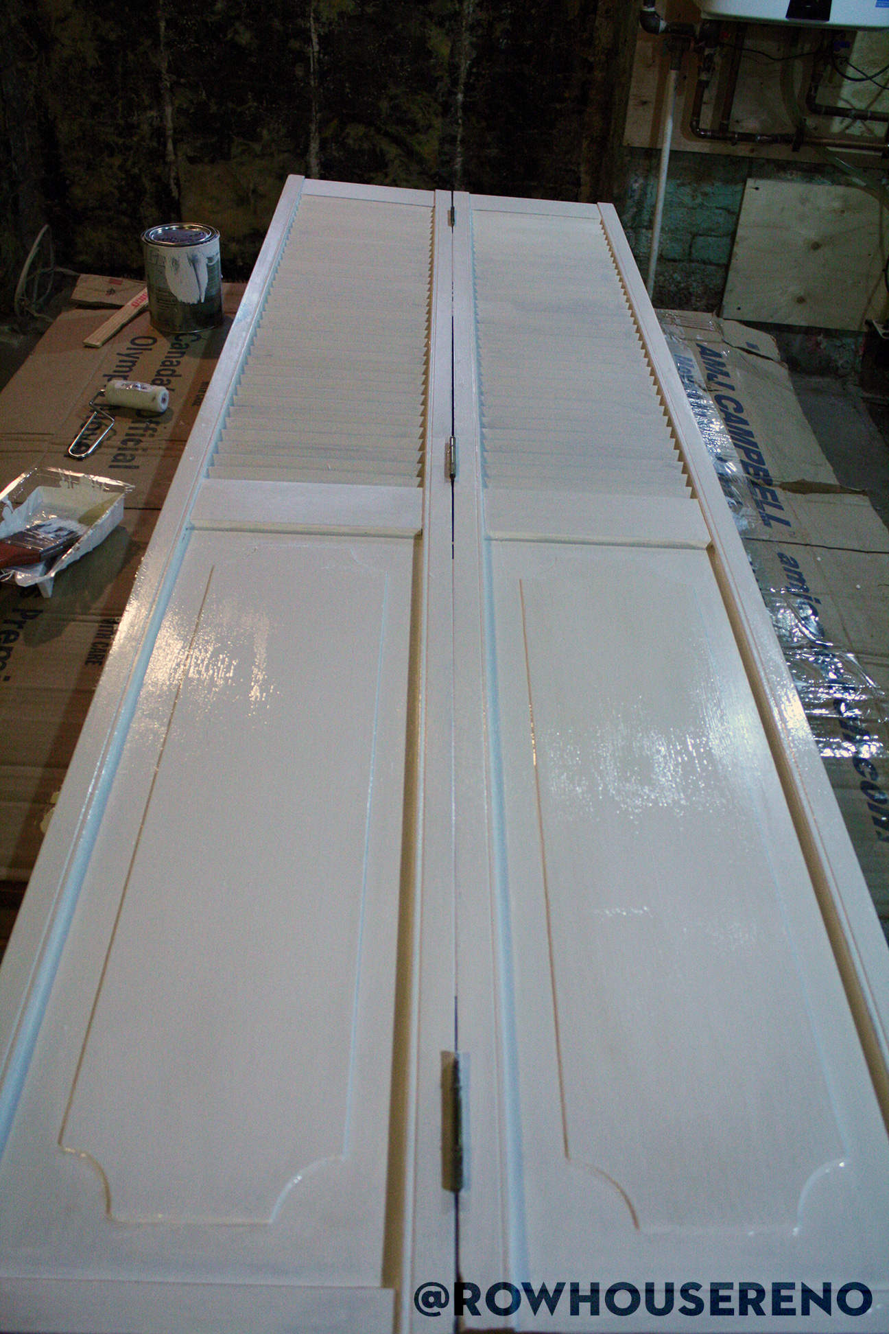 first coat of paint on bifold door
