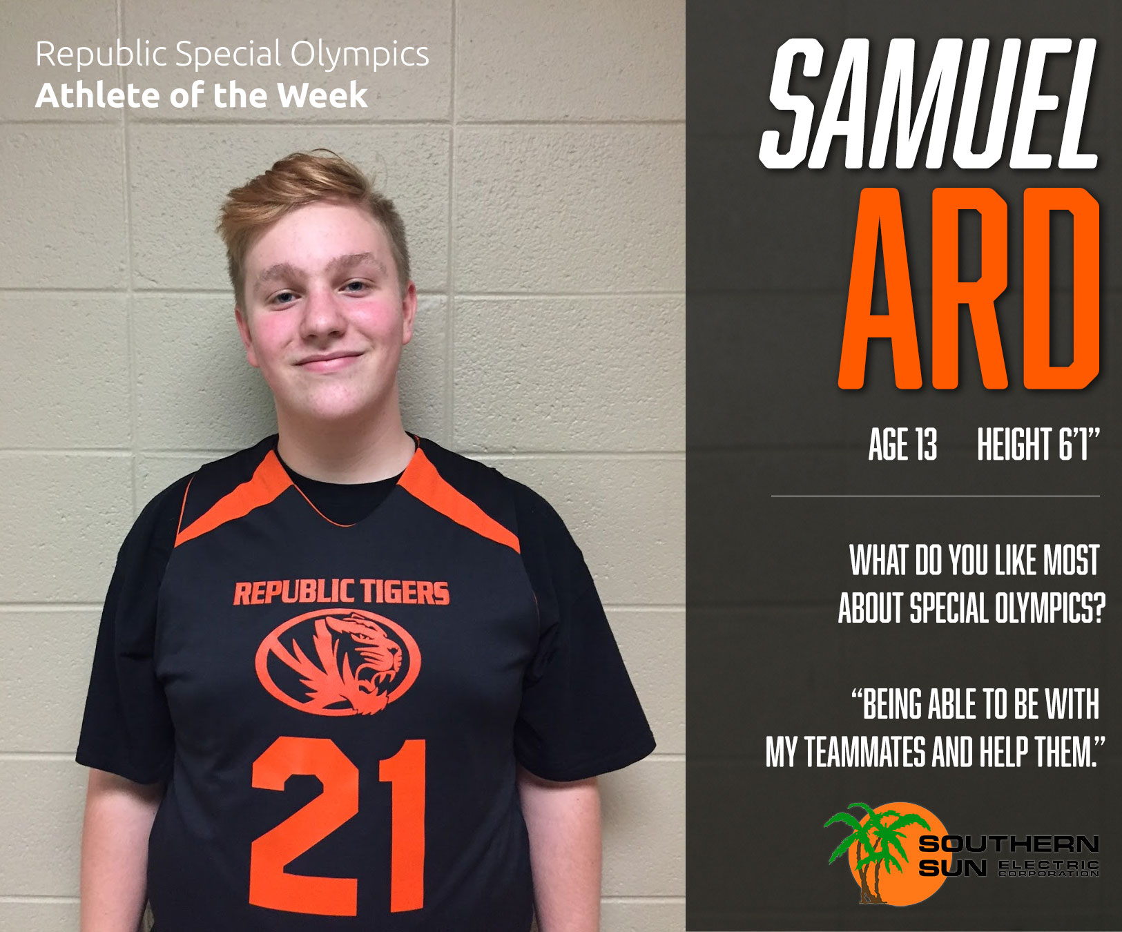 Special Olympics Athlete Of The Week: Samuel Ard