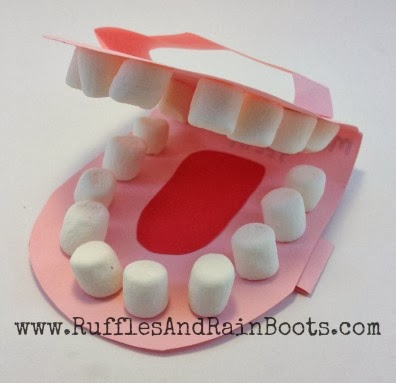 This is a picture of a model of a mouth we used to prepare our toddler for her first dentist appointment.