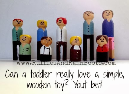 This is a picture of a simple, wood toy crafted by RufflesAndRainBoots.com