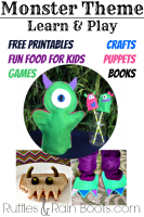 Monsters Theme Learn and Play Day: Printables, Puppets, and More!