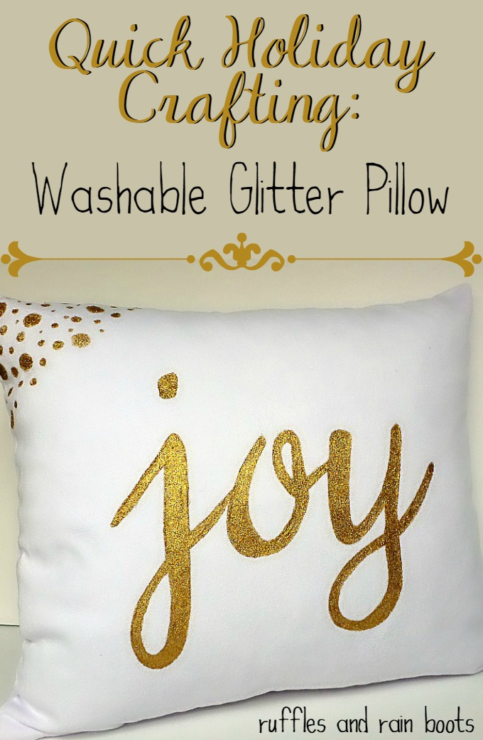 Washable Glitter Holiday Pillow Tutorial | Ruffles and Rain Boots