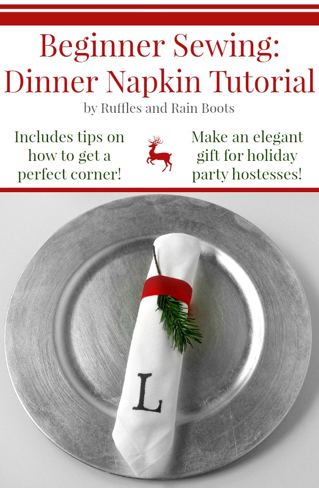 Dinner Napkin Sewing Tutorial by Ruffles and Rain Boots
