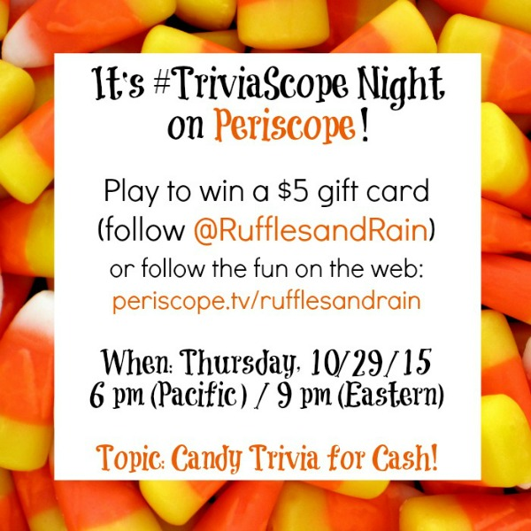 TriviaScope On Periscope Candy Trivia by Ruffles and Rain Boots