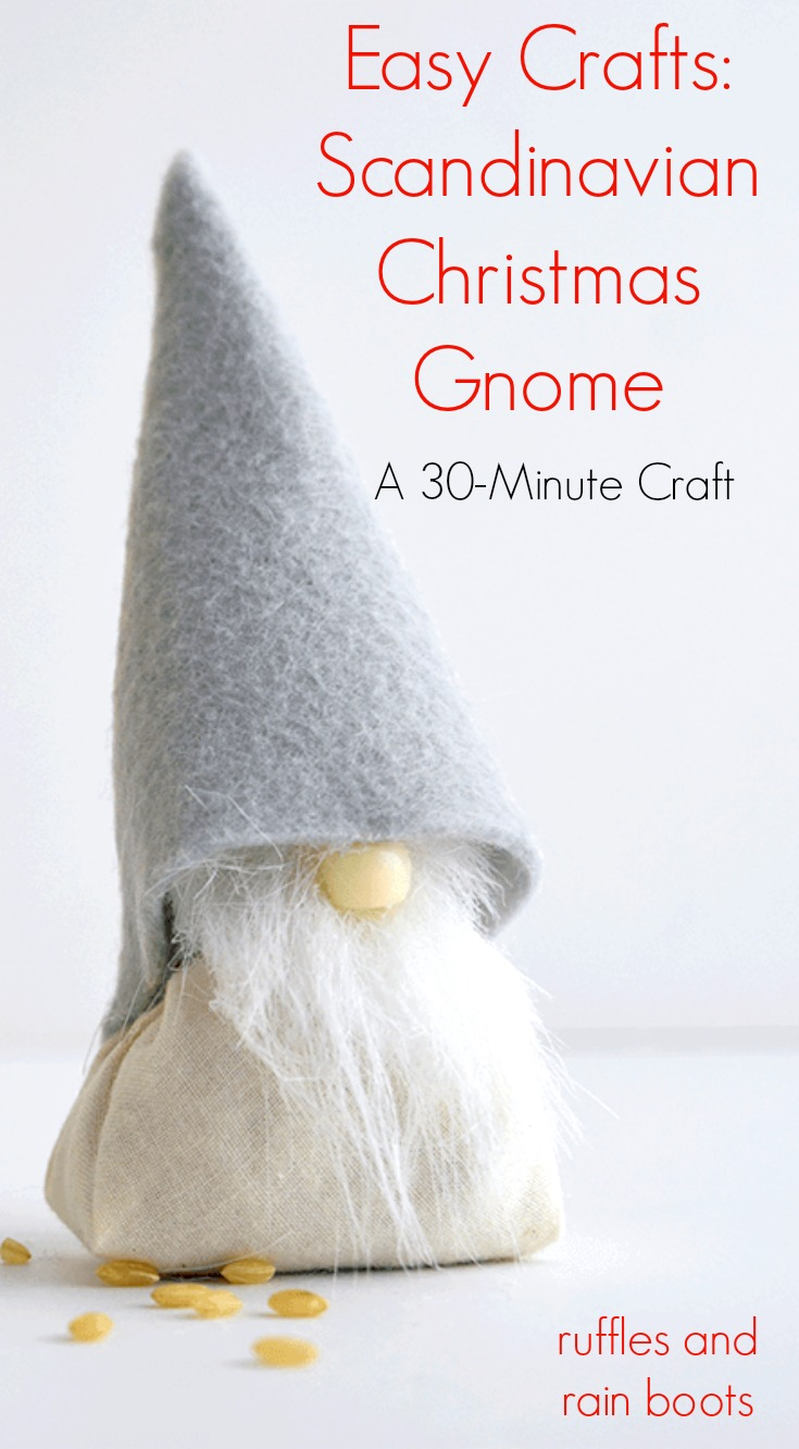 Easy Crafts Scandinavian Christmas Gnome DIY - This 30-minute craft will bring the joy and whimsy of the Christmas gnome into your home.
