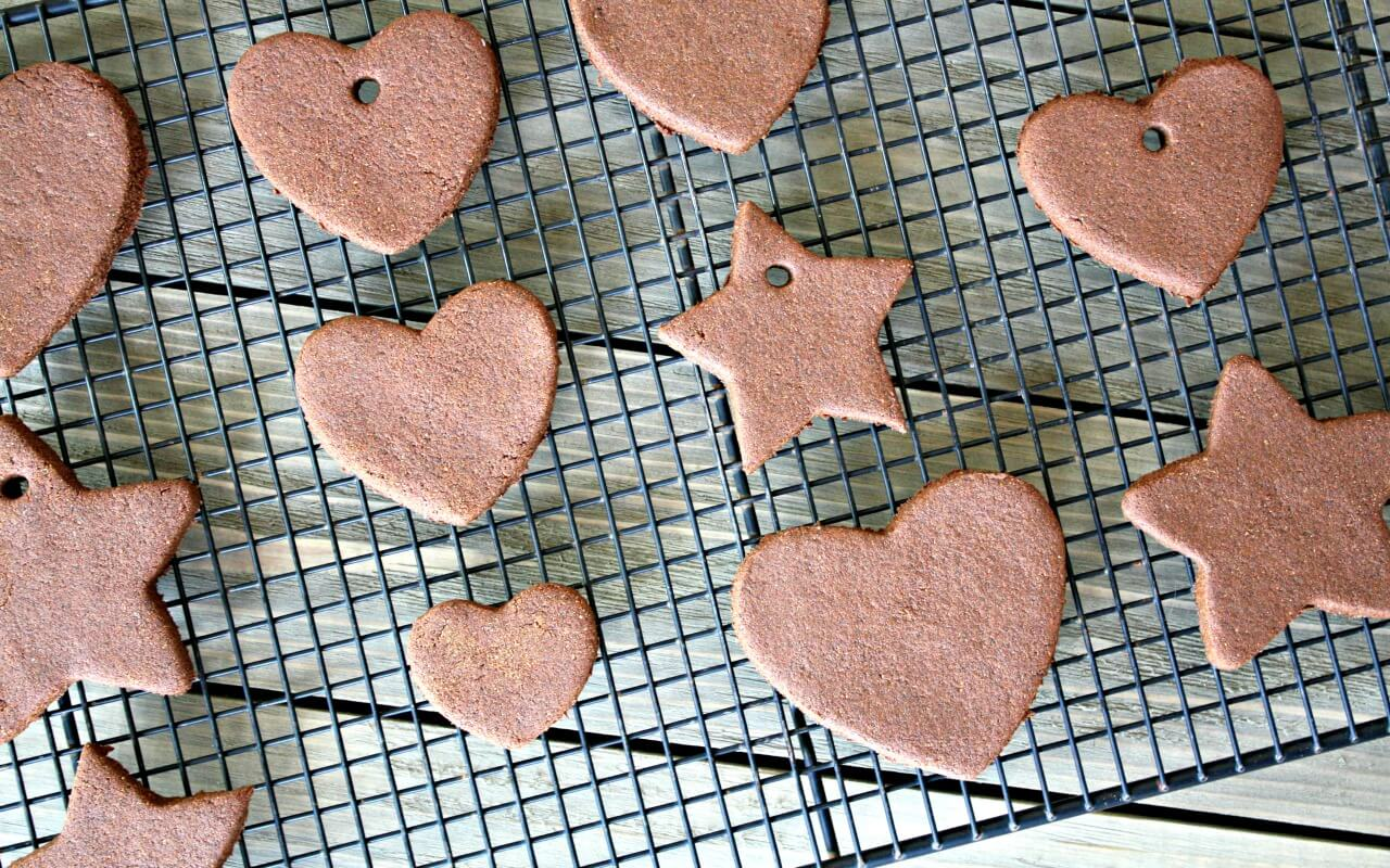 Let the clay ornaments dry on the counter or in the oven