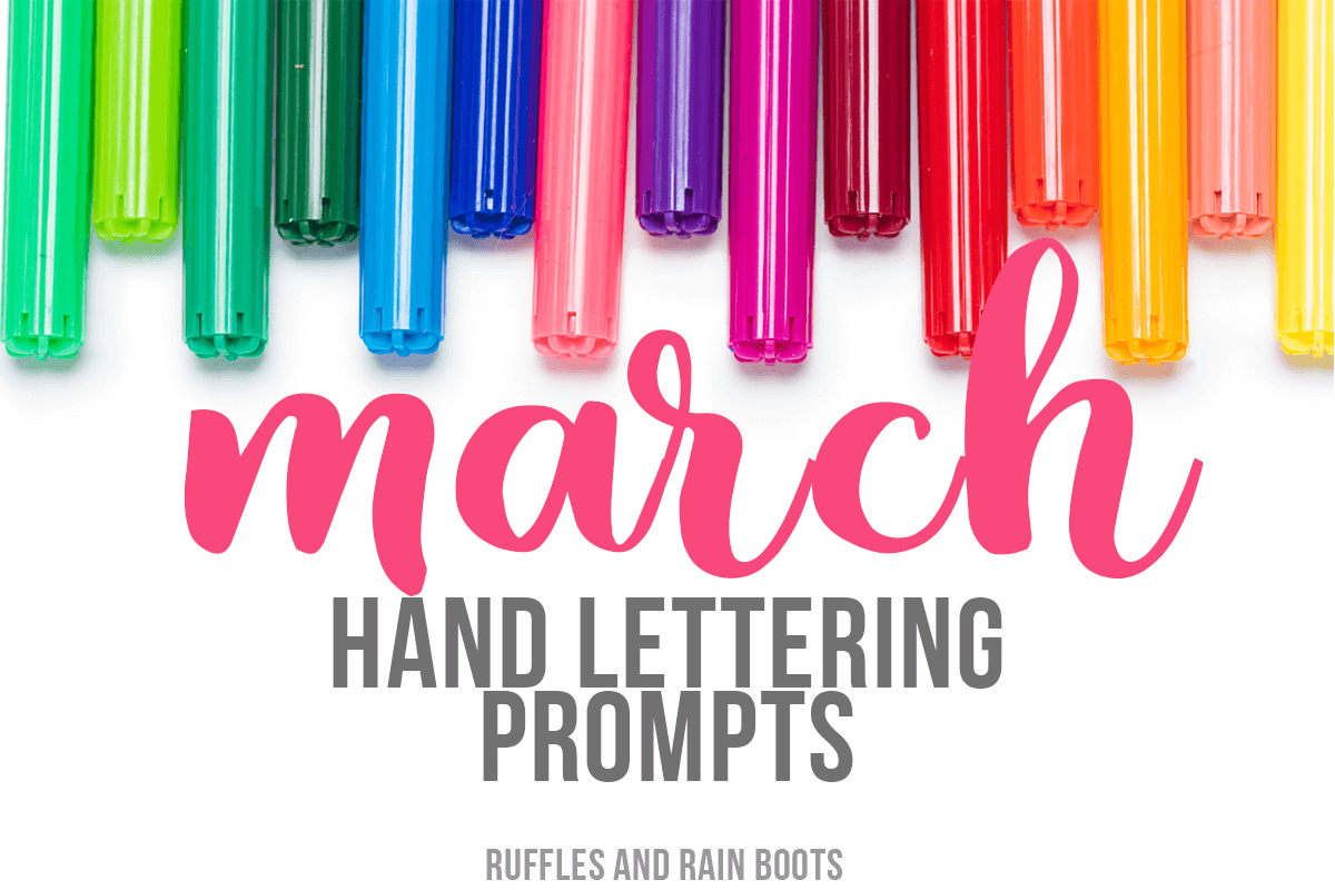 Grab these Hand Lettering Prompts for March, featuring 3 font and type styles and a free, 11-page practice workbook! These prompts are also great for bullet journals and doodling.