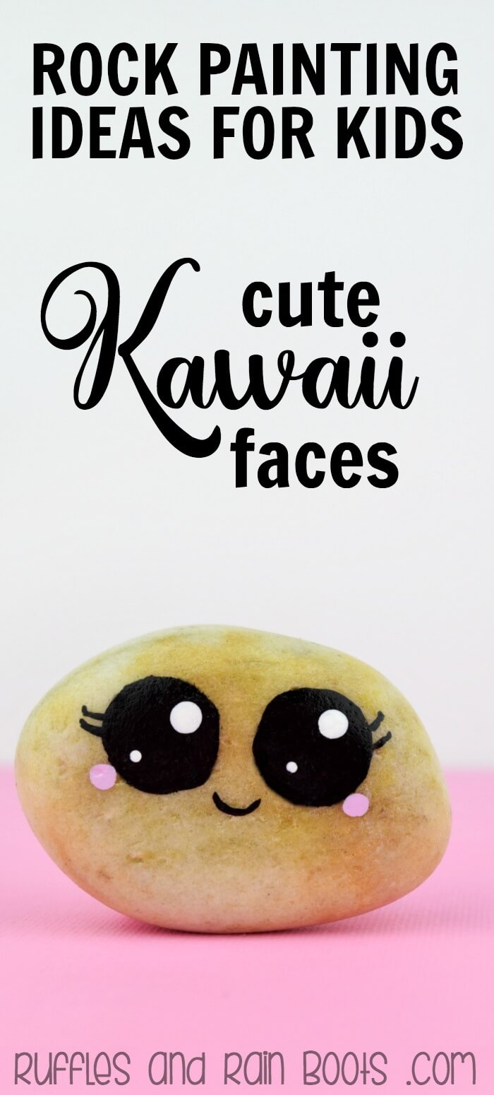 Rock Painting circles with Kawaii faces is the best craft for kids and adults! This tutorial shows how easy it is - and the many ways to - paint circles on rocks. #rockpainting #rockpaintingideas