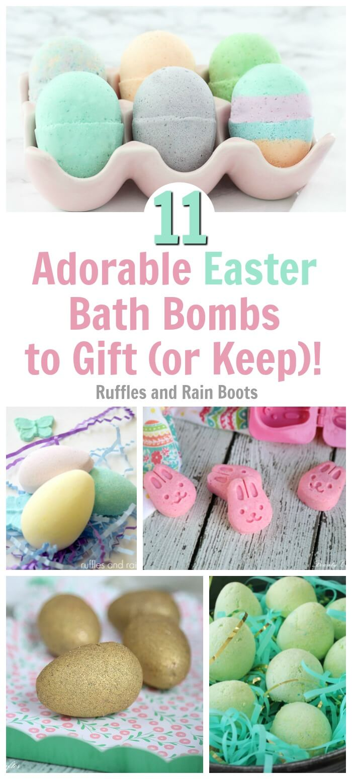 These are PERFECT for my teen and tween girls! These are the most adorable Easter bath bombs for a great Easter basket non-candy idea. #easter #diybathbomb #diybeauty #easterbasket #rufflesandrainboots