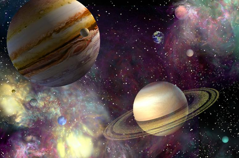 Solar system in outer space