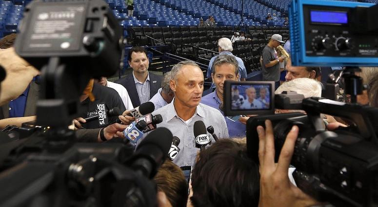 Manfred says building on the water 'can be a big positive' for the A's