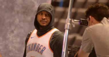 VIDEO: Carmelo Anthony cracks up when asked about coming off the bench