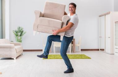 guy cleaning, chair, furniture