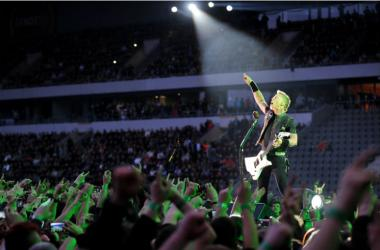 James Hetfield of Metallica during performance in Prague, May 7, 2012