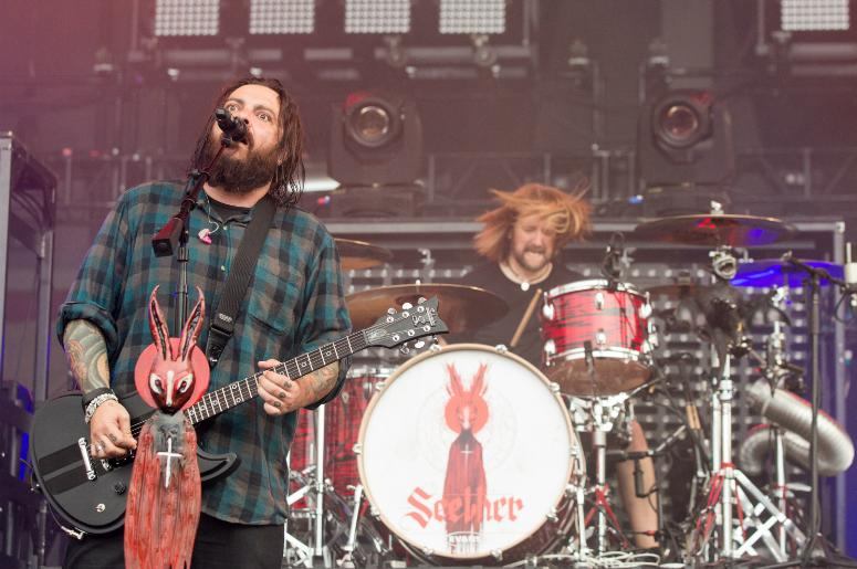 Shaun Morgan and John Humphrey of Seether during Chicago Open Air Music Festival at Toyota Park on July 15, 2017, in Bridgebiew, Illinois