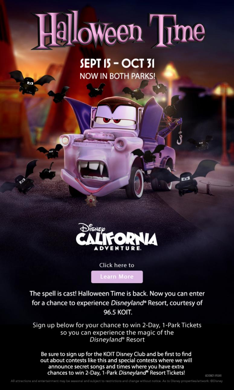 KOIT's Halloween Time Online Ticket Giveaway to the Disneyland ...