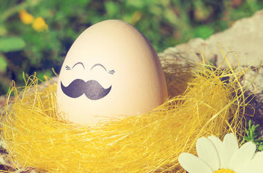 Easter egg with mustache