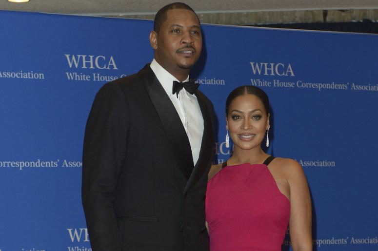 Carmelo and La La Anthony arrive at the Washington Hilton for the 102nd White House Correspondents' Association Dinner