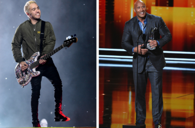 "Fall Out Boy's Pete Wentz and Dwayne ""The Rock"" Johnson"