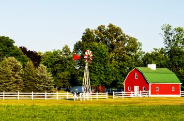 Farm, Country, Red, House