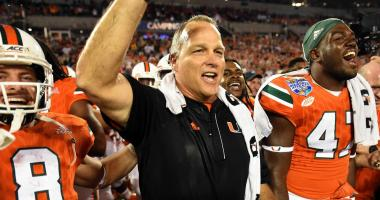 Dec 28, 2016; Orlando, FL, USA;Miami Hurricanes head coach Mark Richt celebrates after defeating the the West Virginia Mountaineers at Camping World Stadium. The Miami Hurricanes defeated West Virginia Mountaineers 31-14. the Mandatory Credit: Jonathan Dy