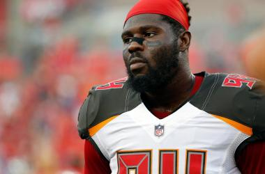Aug 31, 2017; Tampa, FL, USA;Tampa Bay Buccaneers defensive end George Johnson (94) during the first quarter at Raymond James Stadium.