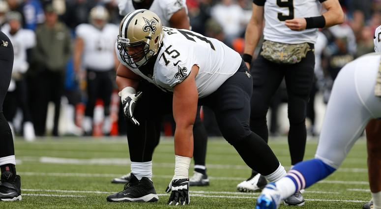 Nov 12, 2017; Orchard Park, NY, USA; New Orleans Saints offensive guard Andrus Peat (75) against the Buffalo Bills at New Era Field