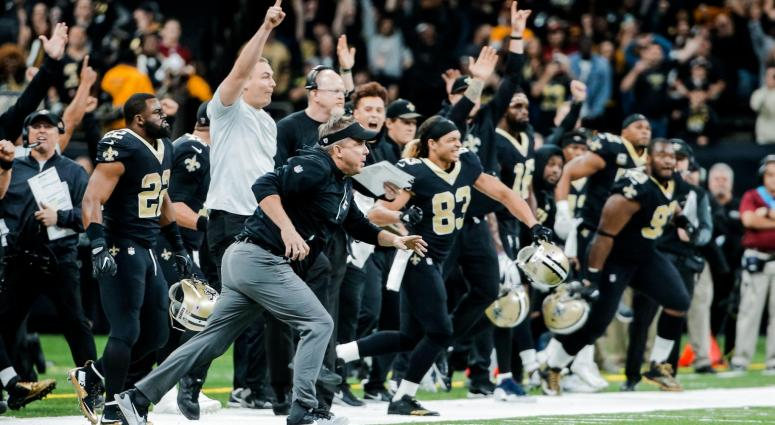 ov 19, 2017; New Orleans, LA, USA; New Orleans Saints head coach Sean Payton and players on the sideline celebrate a game winning kick in overtime against the Washington Redskins of a game at the Mercedes-Benz Superdome. The Saints defeated the Redskins 3