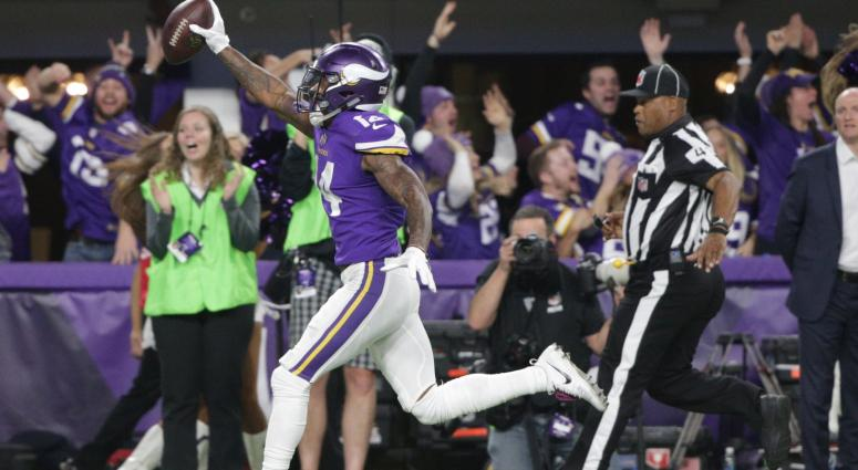 Jan 14, 2018; Minneapolis, MN, USA; Minnesota Vikings wide receiver Stefon Diggs celebrates after catching the game winning catch against the New Orleans Saints at U.S. Bank Stadium