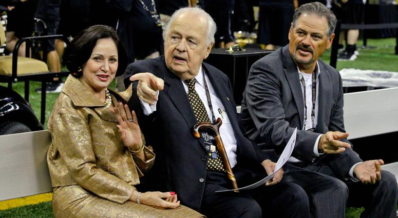Aug 30, 2015; New Orleans, LA, USA; New Orleans Saints owners Gayle Benson and Tom Benson with general manager Mickey Loomis before a preseason game against the Houston Texans at the Mercedes-Benz Superdome.