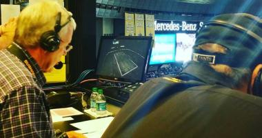 Jim Henderson with Hokie Gajan broadcasting a Saints game