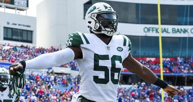 Sep 10, 2017; Orchard Park, NY, USA; New York Jets linebacker Demario Davis (56) gestures while jogging on the field prior to the game against the Buffalo Bills at New Era Field