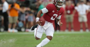 Oct 21, 2017; Tuscaloosa, AL, USA; Alabama Crimson Tide quarterback Jalen Hurts (2) carries the ball during the second quarter against the Tennessee Volunteers at Bryant-Denny Stadium.
