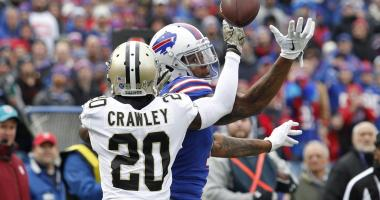 Nov 12, 2017; Orchard Park, NY, USA; New Orleans Saints cornerback Ken Crawley (20) breaks up a pass to Buffalo Bills wide receiver Kelvin Benjamin (13) during the first half at New Era Field.
