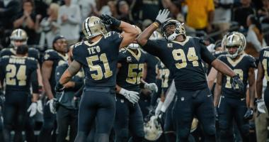 Dec 3, 2017; New Orleans, LA, USA; New Orleans Saints middle linebacker Manti Te'o (51) and defensive end Cameron Jordan (94) celebrate a defensive stop during the second half against the Carolina Panthers at the Mercedes-Benz Superdome. The Saints defeat