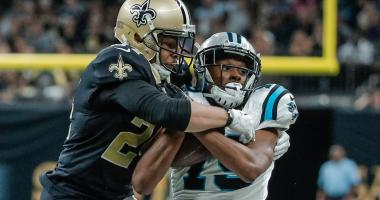 Dec 3, 2017; New Orleans, LA, USA; New Orleans Saints cornerback Sterling Moore (24) strips the ball from Carolina Panthers wide receiver Russell Shepard (19) during the second half at the Mercedes-Benz Superdome. The Saints defeated the Panthers 31-21.